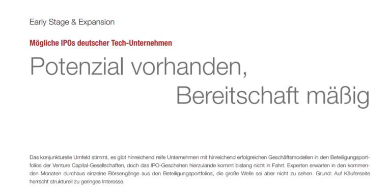 mögliche IPOs deutscher Tech Unternehmen